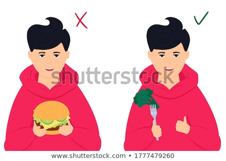 Stock fotó: Young Boy Holding Broccoli And Burger