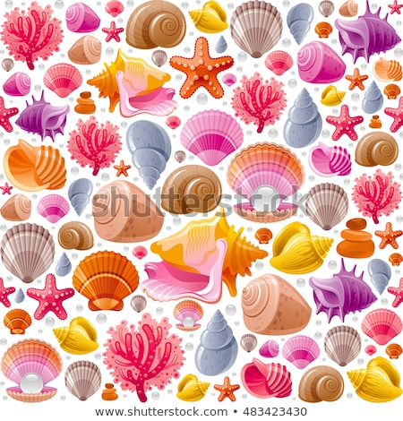 underwater world banners with seashell vector illustration stock photo © carodi