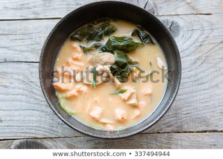 Foto d'archivio: Cinese · zuppa · bianco · ceramica · ciotola · cucchiaio