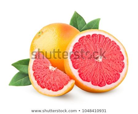 pomelo · desayuno · rojo · rebanada · blanco · placa - foto stock © m-studio