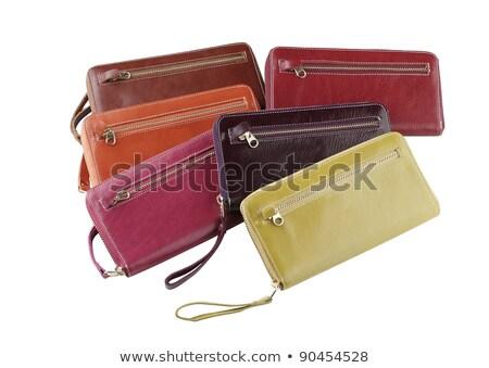 Colorful woman genuine wallets arranges on white background Stock photo © JohnKasawa