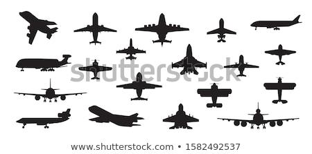Katonaság szett repülőgép sziluettek gyűjtemény vektor Stock fotó © vadimmmus