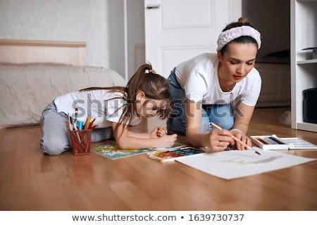 Stok fotoğraf: çocuklar · boyama · birlikte · çift · arka · plan · sanat