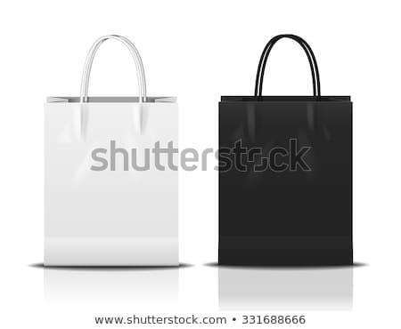 Rood · papier · boodschappentas · geïsoleerd · winkelen · witte - stockfoto © tungphoto