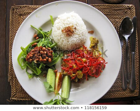 Traditioneel vegetarisch kerrie rijst bali Indonesië Stockfoto © travelphotography