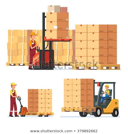 Boxes on hand pallet truck. Forklift. Vector illustration Stock photo © leonido
