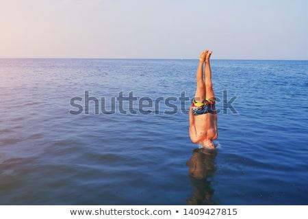 Alto mergulhador mergulho feliz esportes azul Foto stock © wellphoto