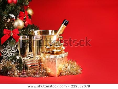 Noel · şampanya · kova · hediye · kutusu · yalıtılmış · beyaz - stok fotoğraf © karandaev