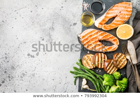 grilled salmon steak on cutting board stock photo © karandaev