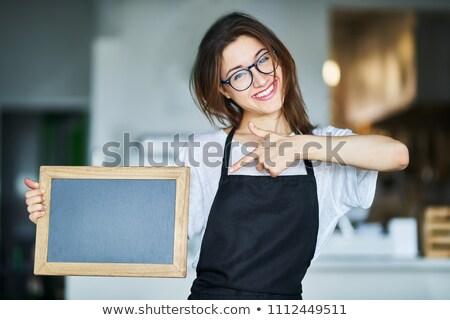 retrato · belo · garçonete · ordem · café - foto stock © andreypopov