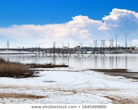 Energiecentrale rivier hoofd- gebouw landschap veld Stockfoto © meinzahn