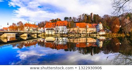 tükröződés · délelőtt · kilátás · középkori · város · ház - stock fotó © faabi