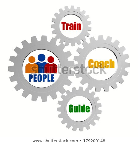Stock photo: people signs with train, coach and guide in silver grey gears
