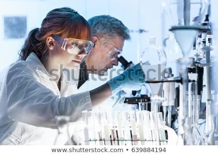 bakıyor · deney · şişesi · kırmızı · sıvı · laboratuvar · okul - stok fotoğraf © kasto