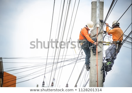high voltage power pole construction works Stock photo © franky242