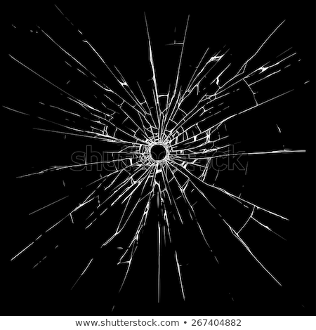 Bullet hole in black shattered glass Stock photo © Arsgera