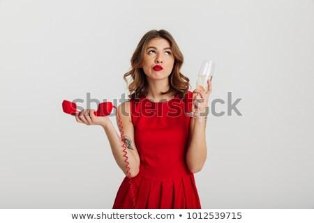 lovely woman talking with phone tube retro portrait stock photo © nejron