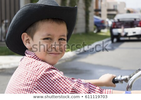 bot · çocuk · kovboy · çizmeleri · ayakta · mavi · kapı - stok fotoğraf © vanessavr