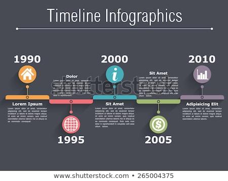 インフォグラフィック 水平な 暗い タイムライン レポート テンプレート ストックフォト © orson