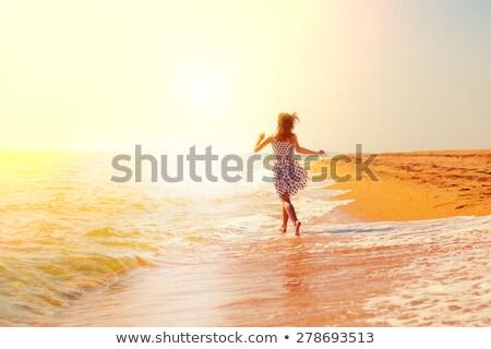 boldog · fiatal · nő · tavasz · mező · siker · harmónia - stock fotó © photocreo