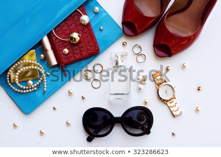 Glamorous red female shoes with black handbag clutch   Stock photo © Elisanth