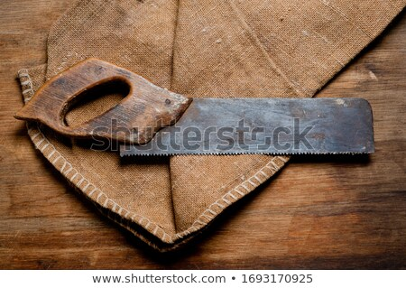 rusted antique carpenters hand saw with wood handle stock photo © michaklootwijk
