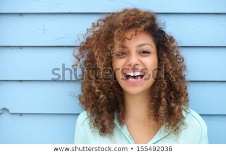 Stock fotó: Afrikai · fiatal · nő · pózol · kék · fotó · nő