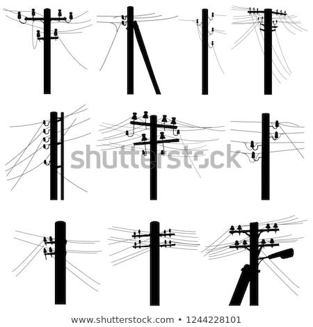 elektromos · transzformátor · kék · ég · fehér · felhők · technológia - stock fotó © ralko