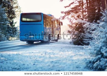 автобус льда дороги метель белый зима Сток-фото © ssuaphoto