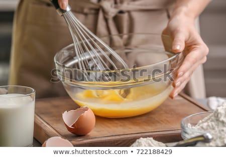 Batidor huevos marrón pollo cartón cuadro Foto stock © Vitalina_Rybakova