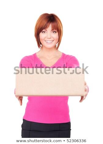 glimlachend · man · karton · vak · foto - stockfoto © stockyimages