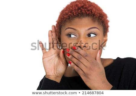 Surpreendido animado senhora fofoca suculento bocado Foto stock © ozgur