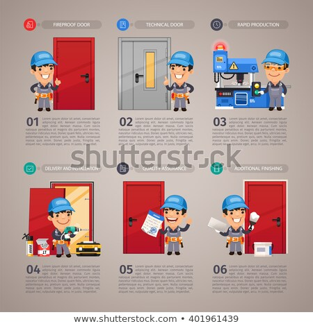 Door Installation Step by Step with Handyman Carpenter Stock photo © Voysla