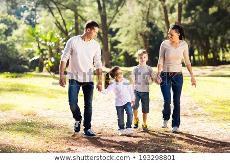 Recreational walk in a green forest Stock photo © olandsfokus