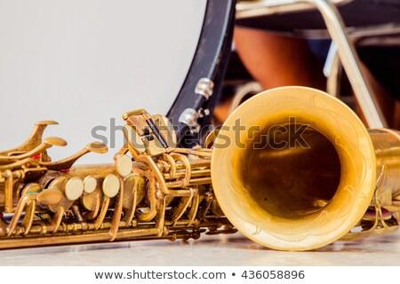 Brug rij kleurrijk saxofoon uitvinder gebouw Stockfoto © smartin69