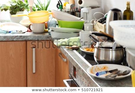 kirli · mutfak · plaka · kaşık - stok fotoğraf © DedMorozz