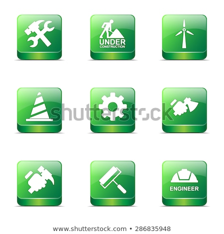 construction tools square vector green icon design set 2 stock photo © rizwanali3d