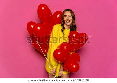 genç · kadın · kalp · balon · pembe - stok fotoğraf © deandrobot