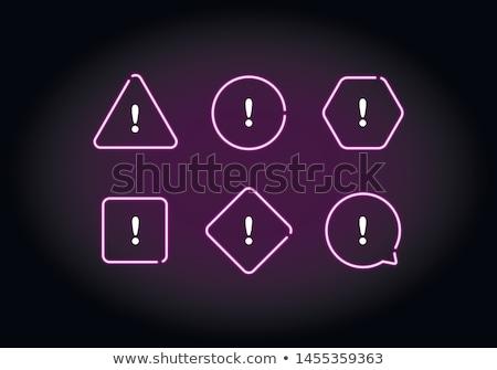 Warning Sign Violet Vector Button Icon Design Set Stock photo © rizwanali3d