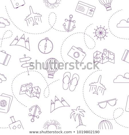 viaje · maleta · estilo · sin · costura · vector · patrón - foto stock © belopoppa