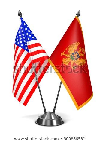 США Черногория миниатюрный флагами изолированный белый Сток-фото © tashatuvango