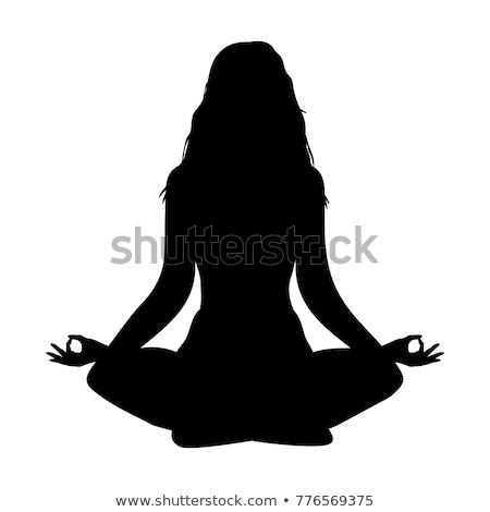 Meditáció sziluett illusztráció férfi póz fehér Stock fotó © ylivdesign