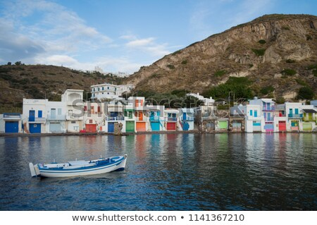old boat at the picturesque fishing village of klima on the island of milos greece stock photo © ankarb