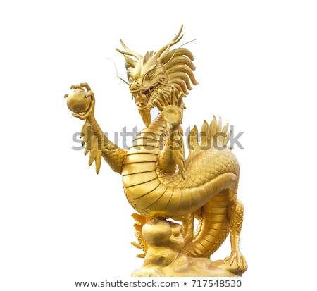 Dragon statua isolato nero legno Foto d'archivio © scenery1