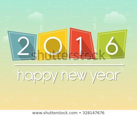 Happy New Year 2016 In Flat Colored Tablets Stockfoto © marinini