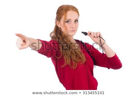 Csinos női sportoló tart síp izolált Stock fotó © Elnur