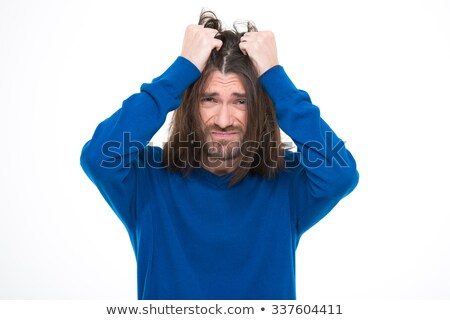 Depressive stresssed man pluck his hair out Stock photo © deandrobot