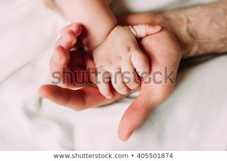 bebek · baba · omuz · gökyüzü · el · yüz - stok fotoğraf © Paha_L