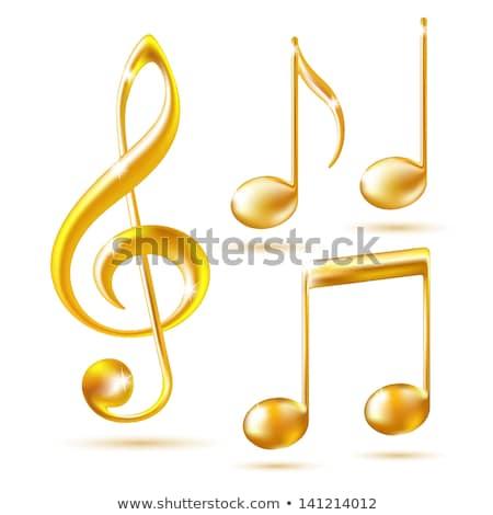 Muziek merkt Geel vector icon ontwerp muziek Stockfoto © rizwanali3d