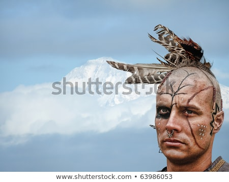 Brave Indian Warrior in Mountains Stock photo © sharpner